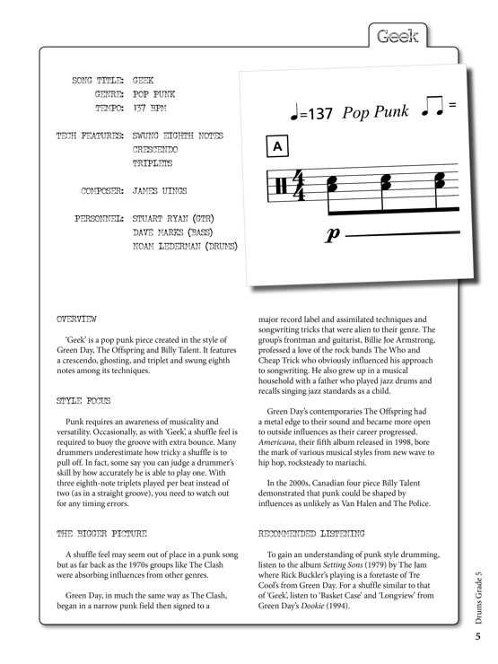 Drums Grade 5 Sample # 1